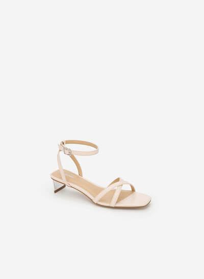 Xem sản phẩm Giày Ankle Strap Phối Gót Metallic - SDN 0639 - Màu Be