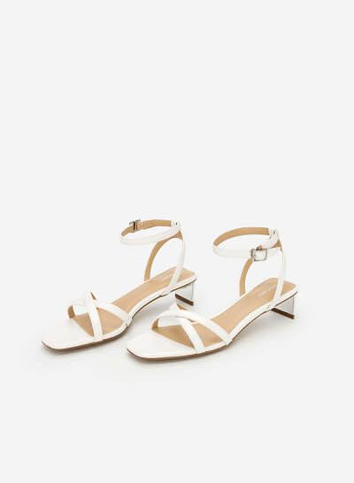 Giày Ankle Strap Phối Gót Metallic - SDN 0639 - Màu Trắng - VASCARA