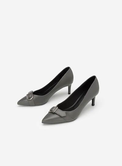 Giày Cao Gót Phối Belt - BMN 0349 - Màu Xám - VASCARA