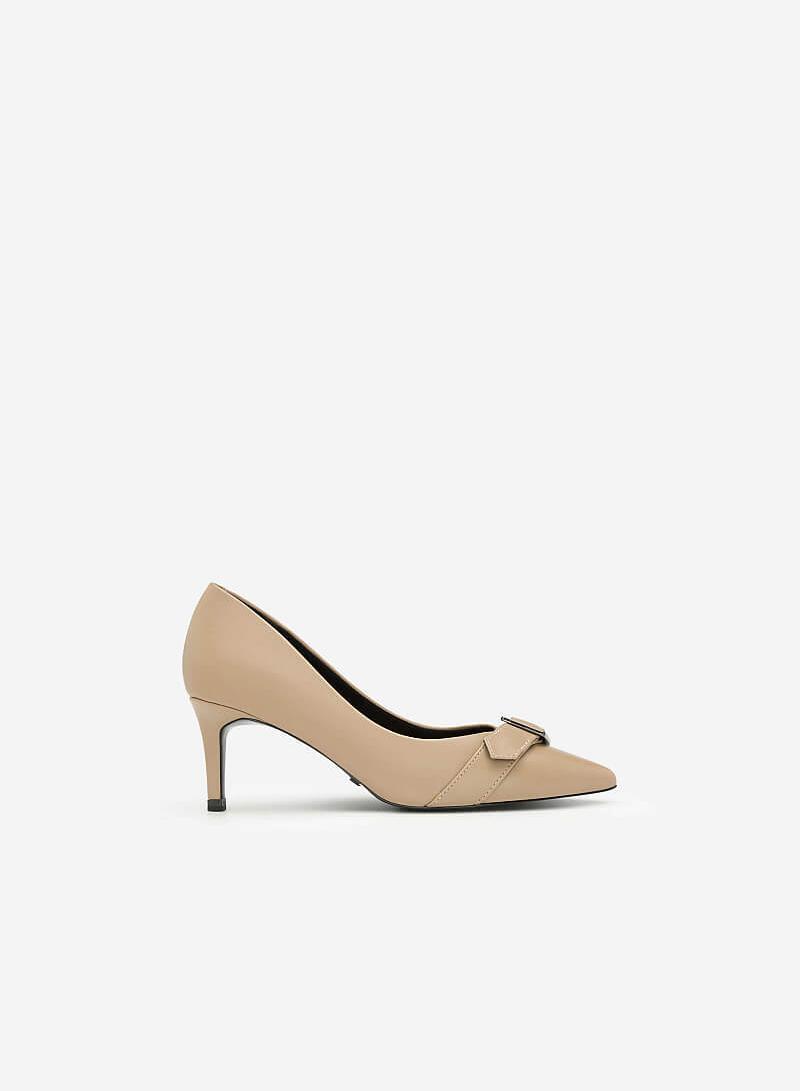 Giày Cao Gót Phối Belt - BMN 0349 - Màu Be Đậm - VASCARA