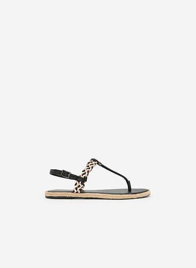 Giày Sandal T-STrap Phối Quai Thắt Bím - SDK 0295 - Màu Đen - VASCARA