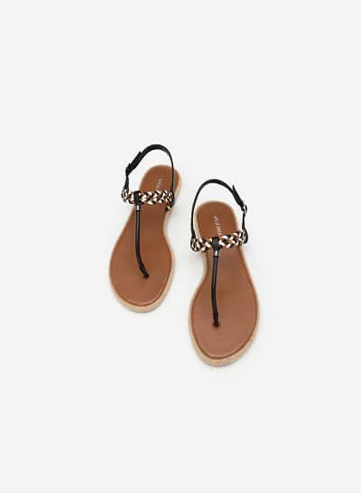 Giày Sandal T-STrap Phối Quai Thắt Bím - SDK 0295 - Màu Nâu - VASCARA