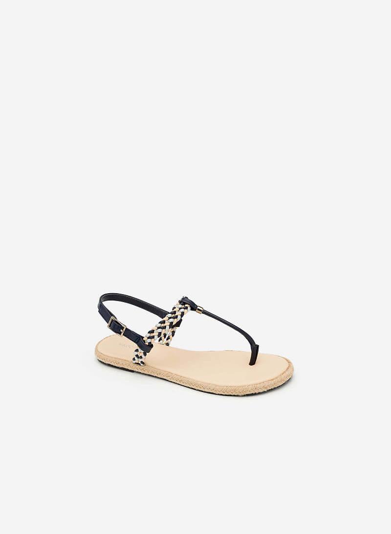 Giày Sandal T-STrap Phối Quai Thắt Bím - SDK 0295 - Màu Be - vascara