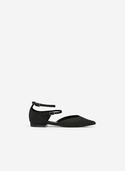 Giày Búp Bê Phối Vải Satin - BMN 0350 - Màu Đen