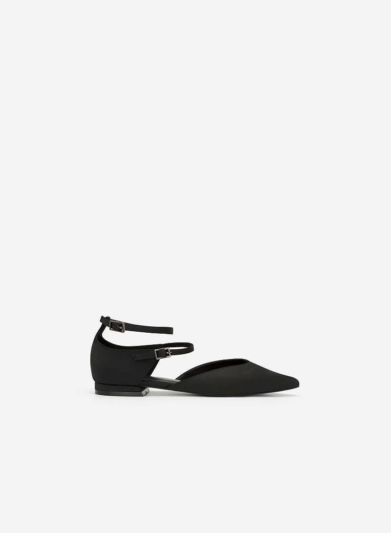 Giày Búp Bê Phối Vải Satin - BMN 0350 - Màu Đen - VASCARA