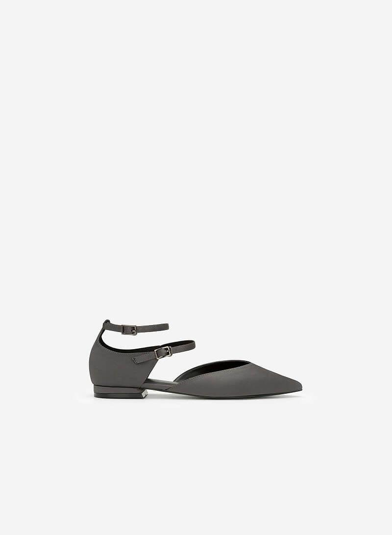 Giày Búp Bê Phối Vải Satin - BMN 0350 - Màu Xám - vascara