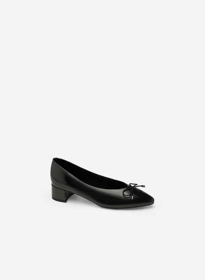 Giày Búp Bê Mũi Nhọn Đính Nơ - BMN 0351 - Màu Đen