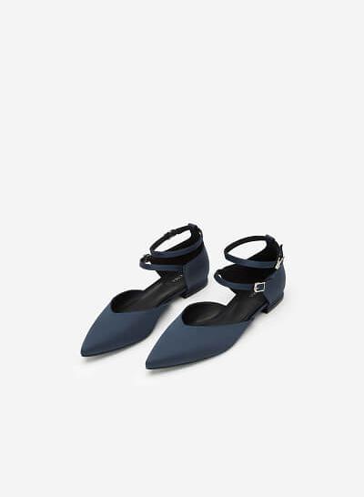 Giày Búp Bê Phối Vải Satin - BMN 0350 - Màu Xanh Navy - VASCARA