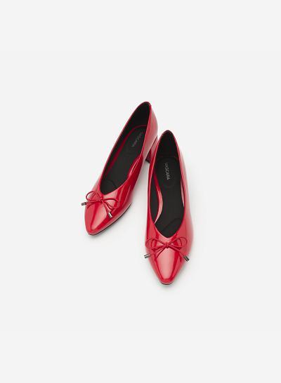 Giày Búp Bê Mũi Nhọn Đính Nơ - BMN 0351 - Màu Đỏ - VASCARA