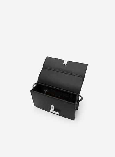 Túi Đeo Chéo Phối Màu - SHO 0137 - Màu Đen - vascara