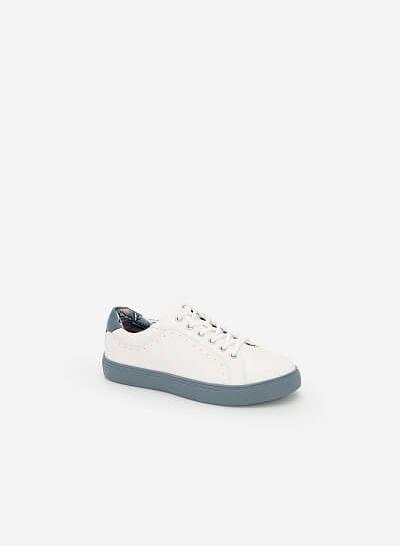 Giày Sneaker Họa Tiết Nhiệt Đới - SNK 0025 - Màu Xanh Da Trời - vascara.com