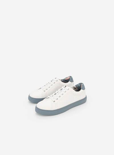 Giày Sneaker Họa Tiết Nhiệt Đới - SNK 0025 - Màu Xanh Da Trời - VASCARA