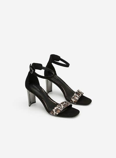 Giày Ankle Strap Phối Họa Tiết Da Báo - SDN 0643 - Màu Da Báo - VASCARA