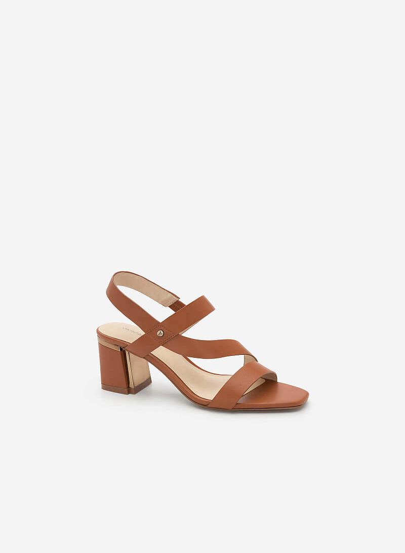 Giày Sandal Gót Vuông - SDN 0638 - Màu Nâu - vascara