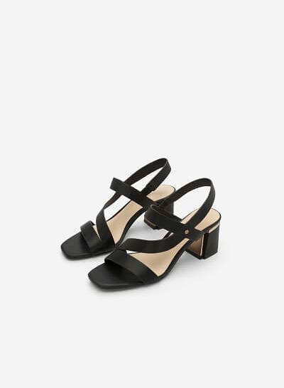 Giày Sandal Gót Vuông - SDN 0638 - Màu Đen - vascara
