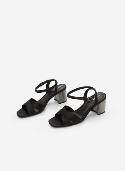 Giày Sandal Gót Metallic Phối Vải Satin - SDN 0641 - Màu Đen - VASCARA