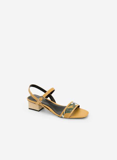 Giày Sandal Họa Tiết Nhiệt Đới - SDN 0633 -Màu Vàng - vascara.com