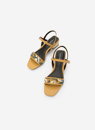 Giày Sandal Họa Tiết Nhiệt Đới - SDN 0633 -Màu Vàng - vascara