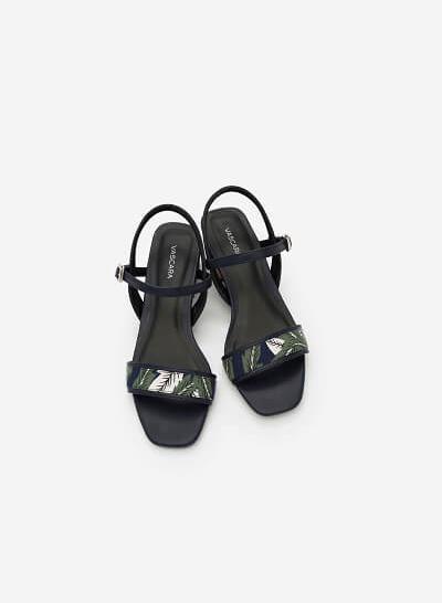Giày Sandal Họa Tiết Nhiệt Đới - SDN 0633 -Màu Xanh Navy - vascara