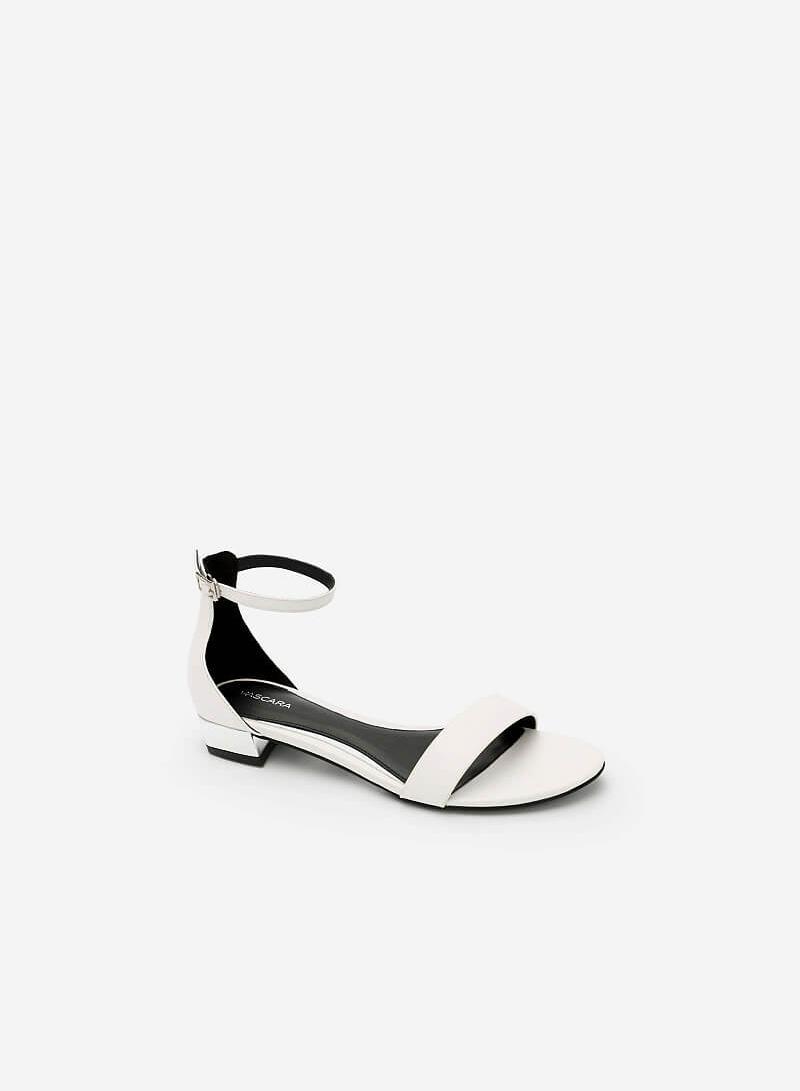 Giày Sandal Phối Gót Metallic - SDK 0296 - Màu Trắng - VASCARA