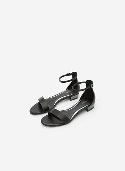 Giày Sandal Phối Gót Metallic - SDK 0296 - Màu Đen - vascara