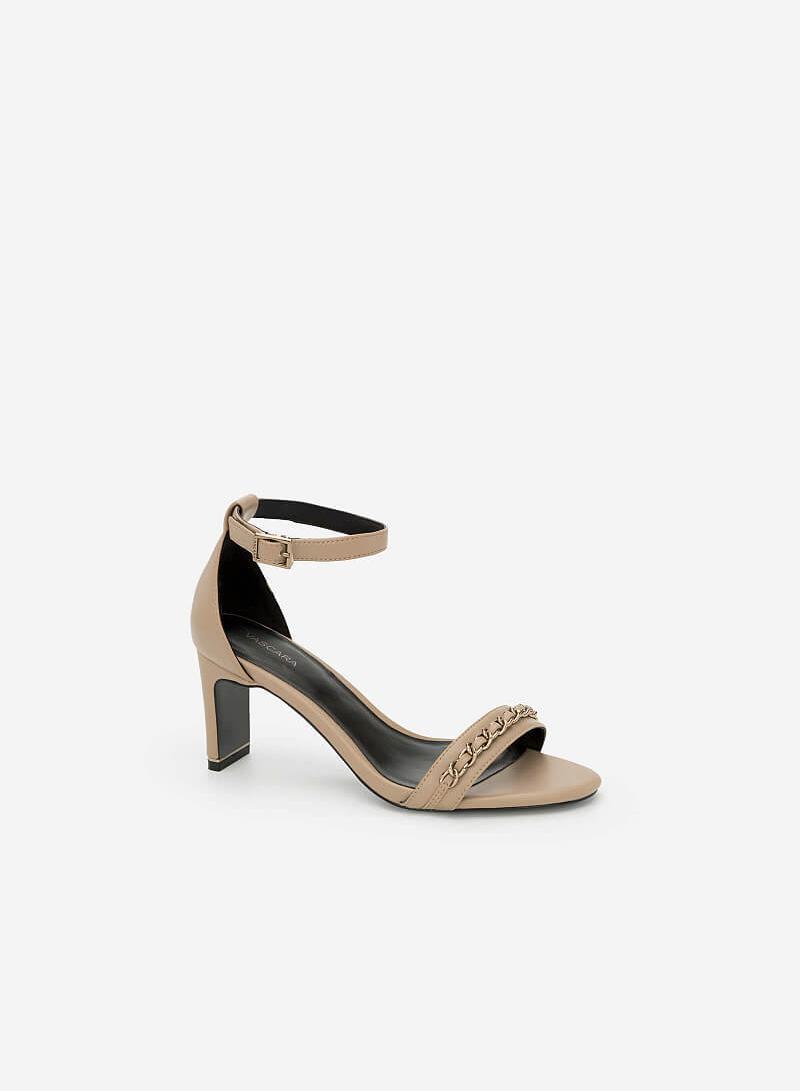 Giày Ankle Strap Bít Gót - SDN 0634 - Màu Be Đậm - VASCARA