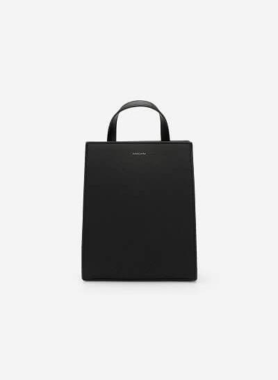 Xem sản phẩm Balo Mini Dáng Chữ Nhật Nhấn Chỉ Nổi Hình Học - BAC 0107 - Màu Đen