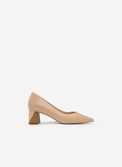 Giày Bít Mũi Nhọn Gót Vuông - BMN 0336 - Màu Hồng