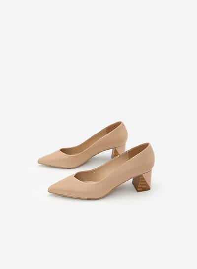 Giày Bít Mũi Nhọn Gót Vuông - BMN 0336 - Màu Hồng - VASCARA