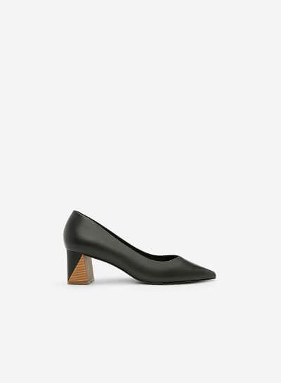 Giày Bít Mũi Nhọn Gót Vuông - BMN 0336 - Màu Đen