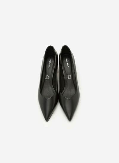 Giày Bít Mũi Nhọn Gót Vuông - BMN 0336 - Màu Đen - VASCARA