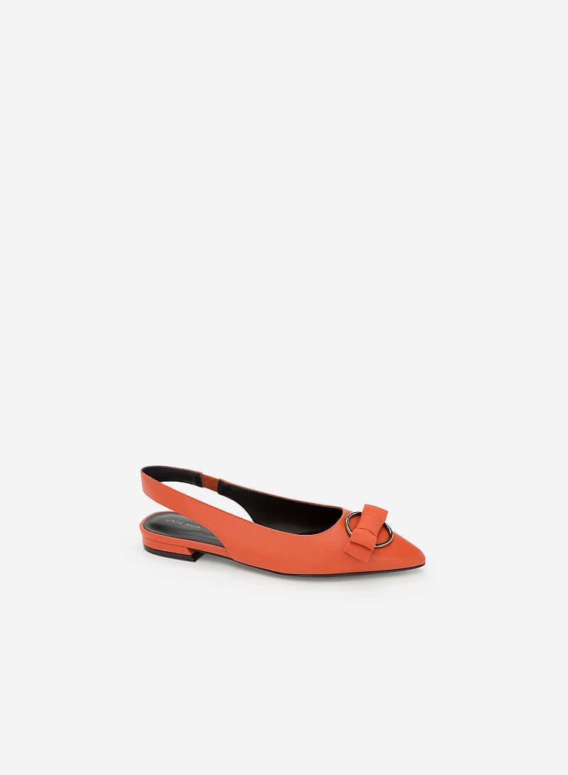 Giày Slingback Đính Nơ - BMN 0345 - Màu Cam Đậm - VASCARA