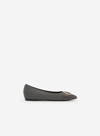 Giày Búp Bê Phối Khóa Cài - BMN 0346 - Màu Xám - VASCARA