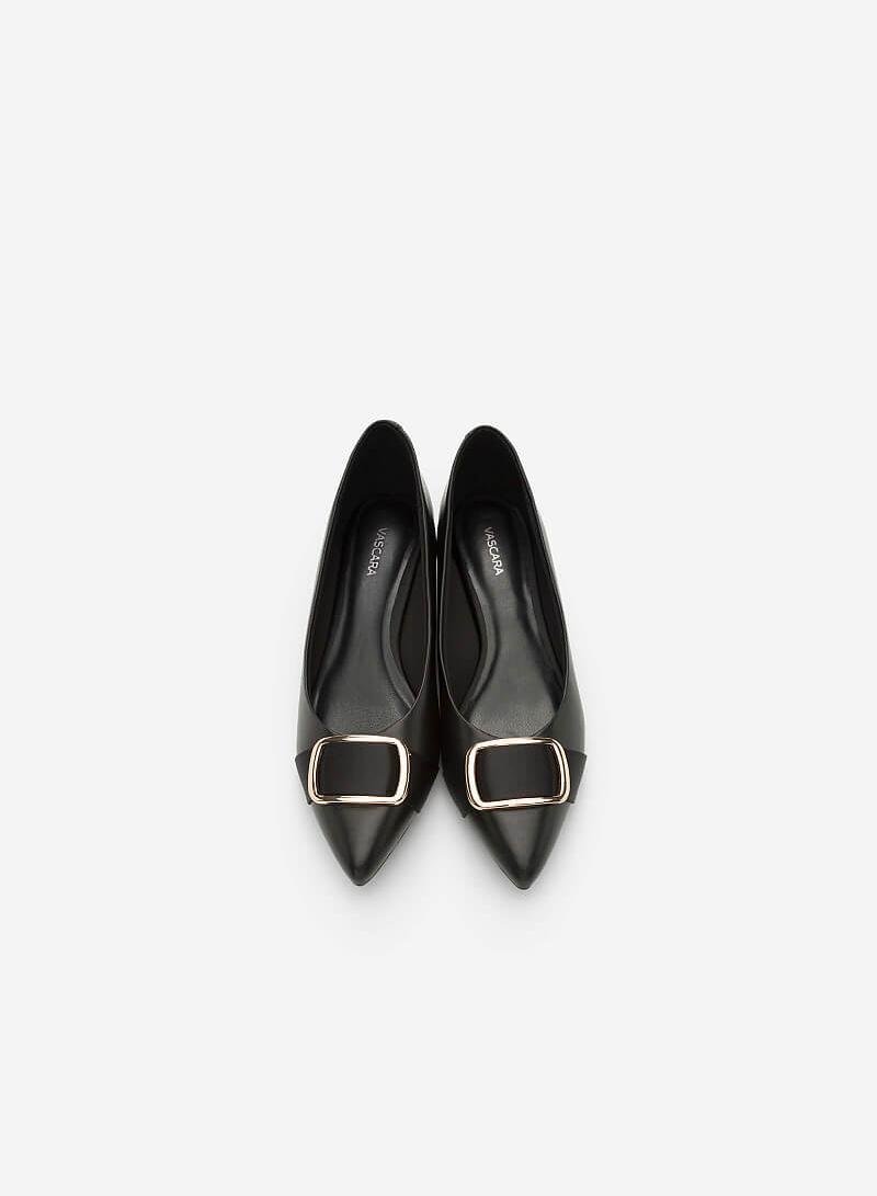 Giày Búp Bê Phối Khóa Cài - BMN 0346 - Màu Đen - VASCARA