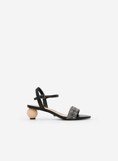 Giày Sandal Gót Hình Học Phối Vải Tweed - SDN 0635 - Màu Đen