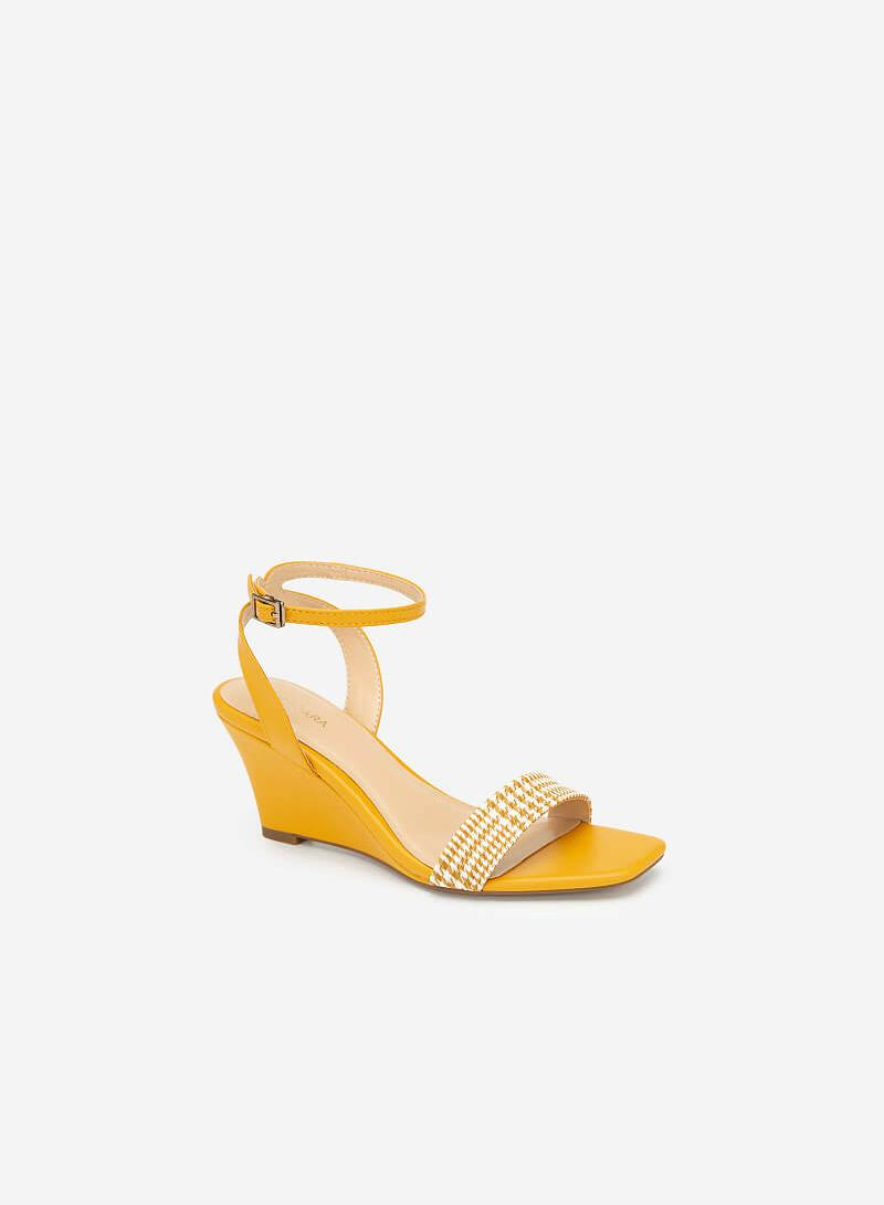 Giày Đế Xuồng Quai Họa Tiết Glen Plaid - SDX 0413 - Màu Vàng - VASCARA