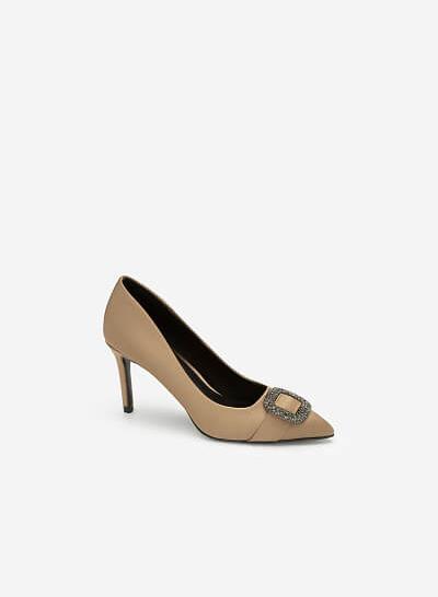 Giày Cao Gót Nhọn Phối Pha Lê - BMN 0412 - Màu Be Đậm