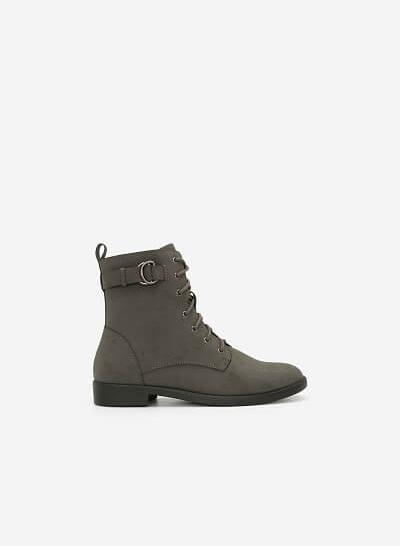 Boots Đế Bằng Buộc Dây - BOT 0901 - Màu Xám