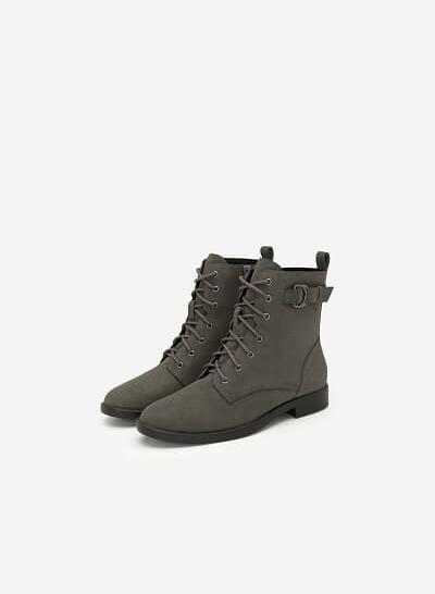 Boots Đế Bằng Buộc Dây - BOT 0901 - Màu Xám - VASCARA