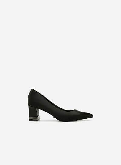 Giày Bít Mũi Nhọn Gót Vuông - BMN 0404 - Màu Đen - VASCARA