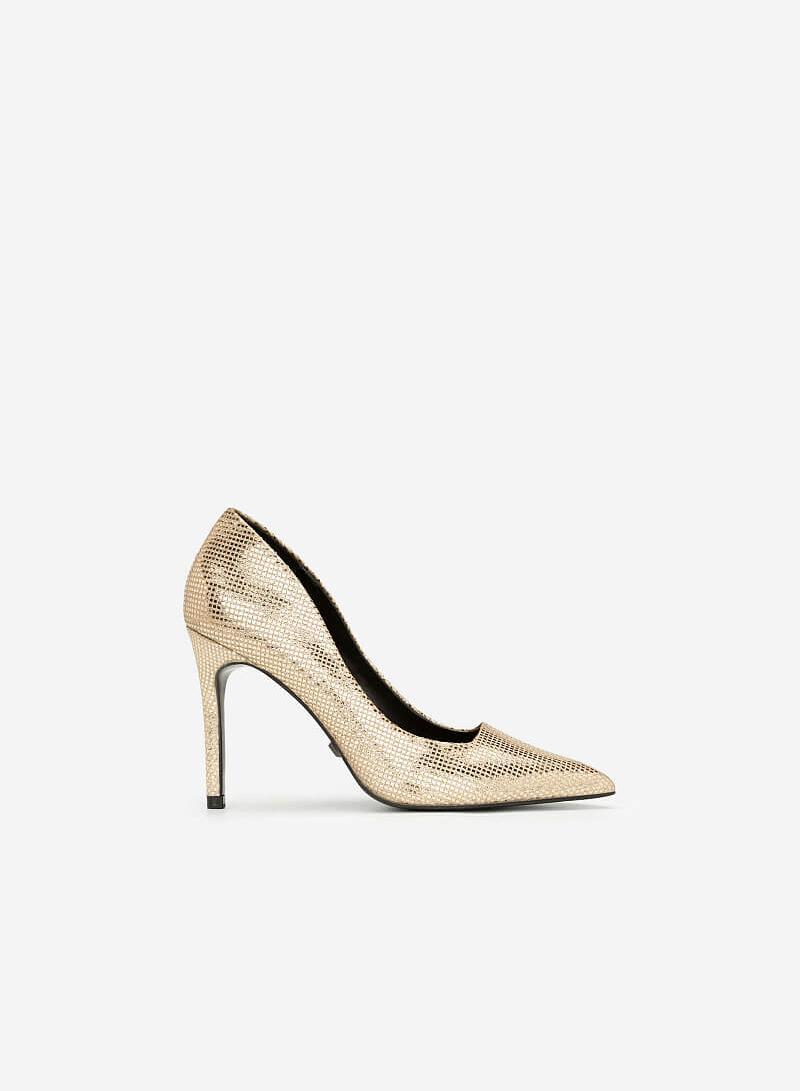 Giày Cao Gót Kim Tuyến Metallic - BMN 0360 - Màu Vàng Kim - vascara