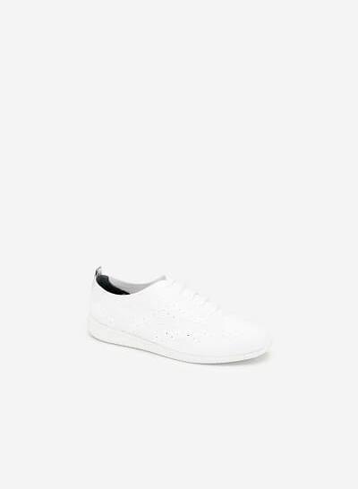 Giày Sneaker Vải Đan Sợi Knit - SNK 0028 - Màu Trắng