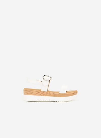 Sandal Đế Xuồng Vân Gỗ - SDX 0416 - Màu Trắng - VASCARA