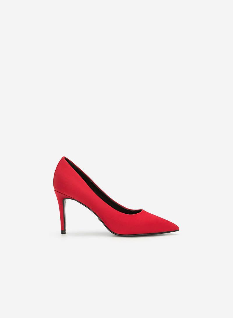 Giày Cao Gót Satin Mũi Nhọn - BMN 0368 - Màu Đỏ - VASCARA