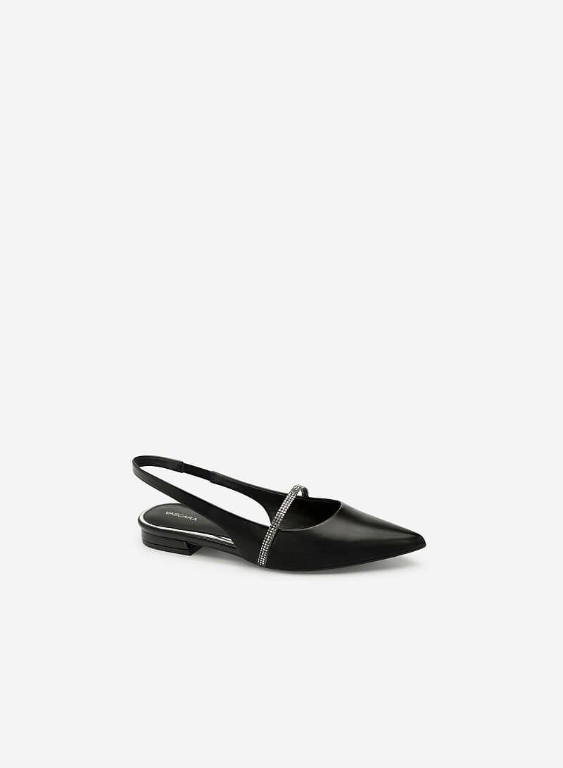 Giày Slingback Mũi Nhọn Quai Sequin - BMN 0369 - Màu Đen - VASCARA