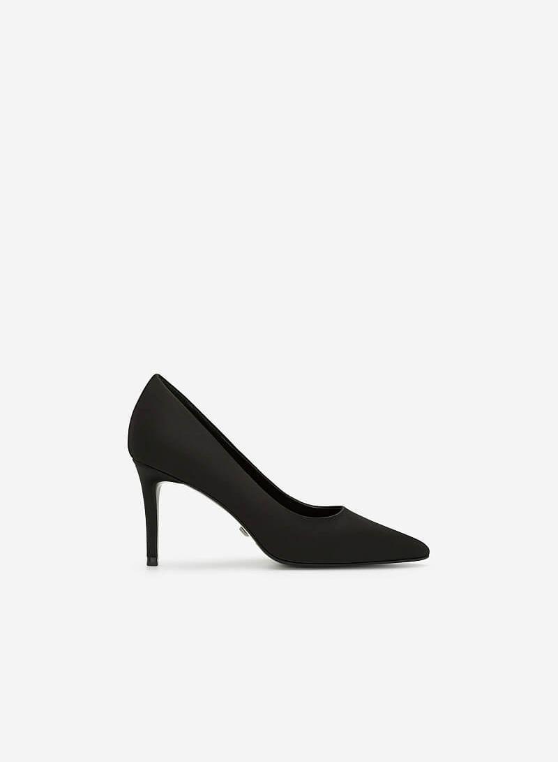Giày Cao Gót Satin Mũi Nhọn - BMN 0368 - Màu Đen - VASCARA