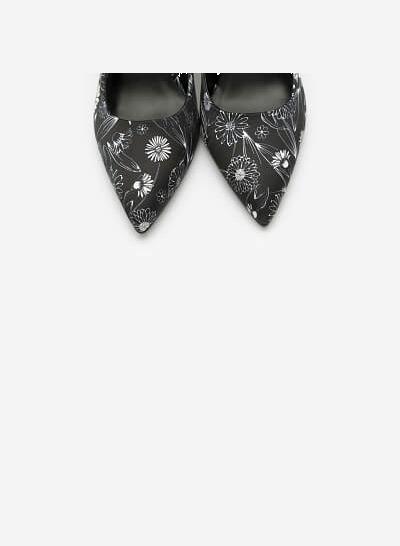 Giày Bít Cao Gót Cúc Họa Mi - BMN 0385 - Hoa Văn - VASCARA