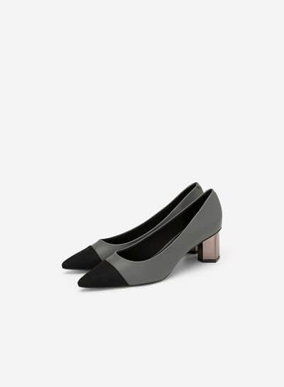 Giày Bít Gót Trụ Metalic Phối Satin - BMN 0367 - Màu Xám - VASCARA