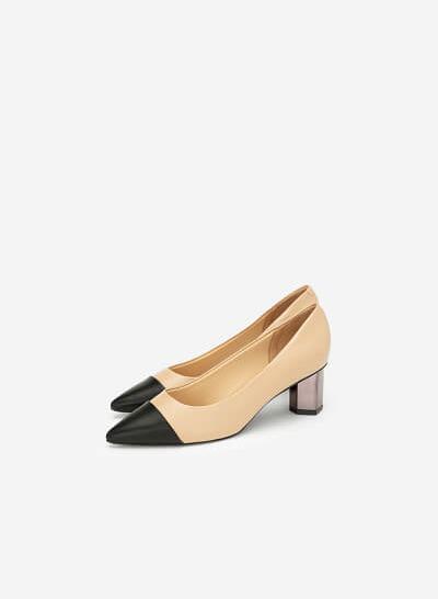 Giày Bít Gót Trụ Metalic Phối Satin - BMN 0367 - Màu Be - VASCARA