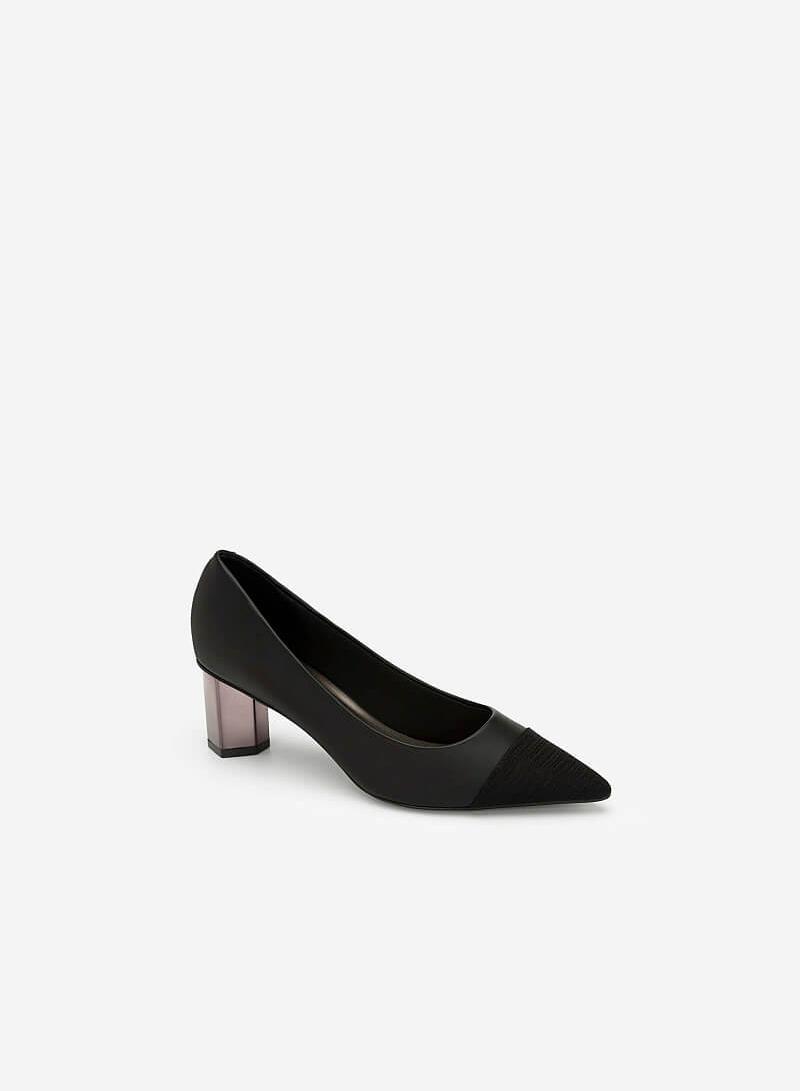 Giày Bít Gót Trụ Metalic Phối Satin - BMN 0367 - Màu Đen - VASCARA